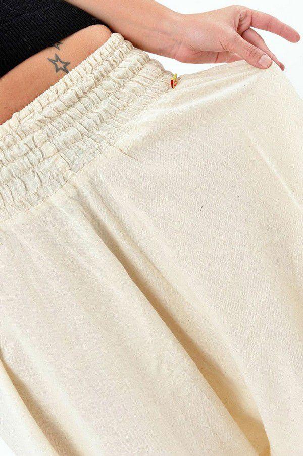 Sarouel pantalon élastique uni en coton léger du Népal crème Liow 302808