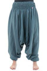 Sarouel pantalon élastique uni en coton léger du Népal Gris-bleu Liow 302828