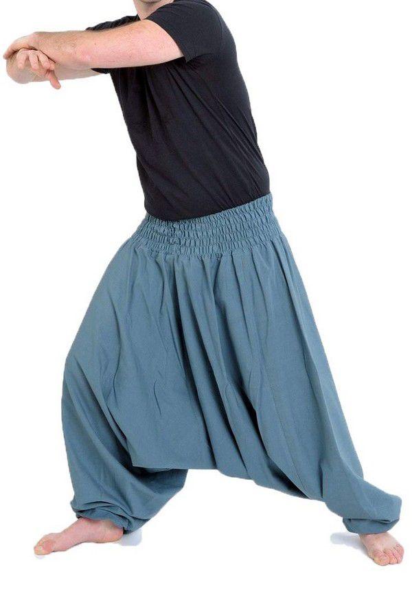 Sarouel pantalon élastique uni en coton léger du Népal Gris-bleu Liow 302829