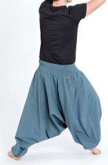 Sarouel pantalon élastique uni en coton léger du Népal Gris-bleu Liow 302830