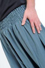 Sarouel pantalon élastique uni en coton léger du Népal Gris-bleu Liow 302831
