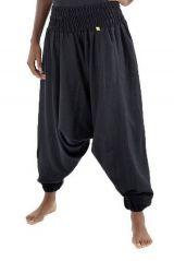 Sarouel pantalon élastique uni en coton léger du Népal noir Liow 302823