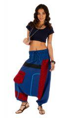 Sarouel pour femme à fourche basse coloré Owando bleu 313960