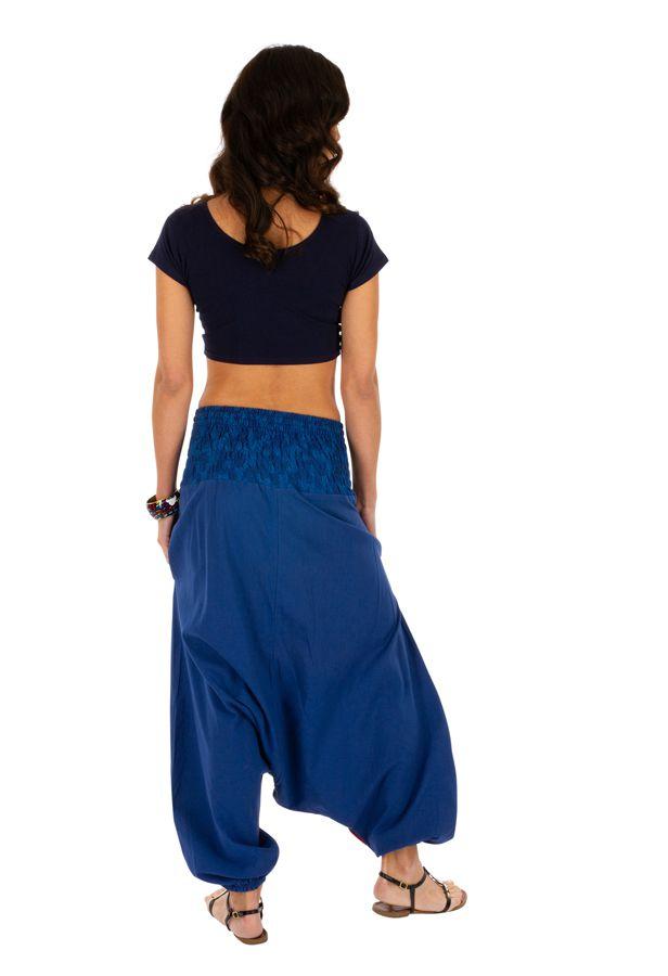 Sarouel pour femme à fourche basse coloré Owando bleu 313961