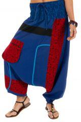 Sarouel pour femme à fourche basse coloré Owando bleu 313962