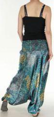 Sarouel pour Femme Chic et Ethnique aspect soie Joanis Turquoise 275417