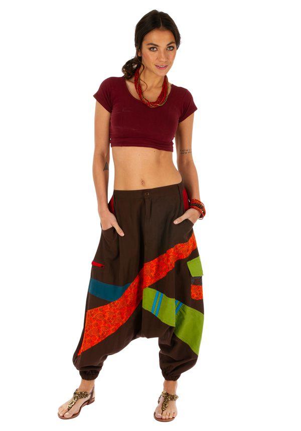 Sarouel pour femme en coton aux couleurs gaies Fayoum marron 314080