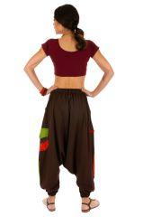 Sarouel pour femme en coton aux couleurs gaies Fayoum marron 314081