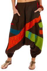 Sarouel pour femme en coton aux couleurs gaies Fayoum marron 314082