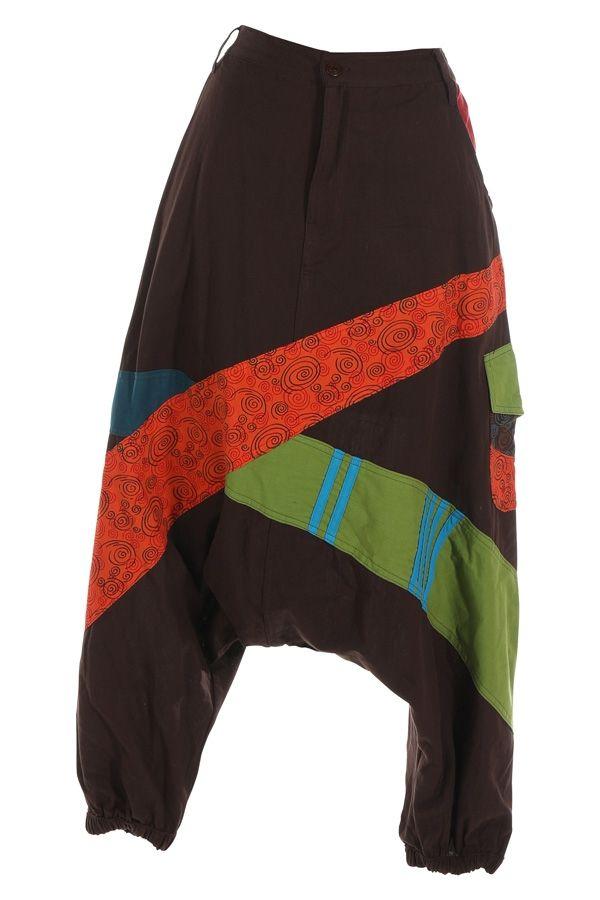 Sarouel pour femme en coton aux couleurs gaies Fayoum marron 314810