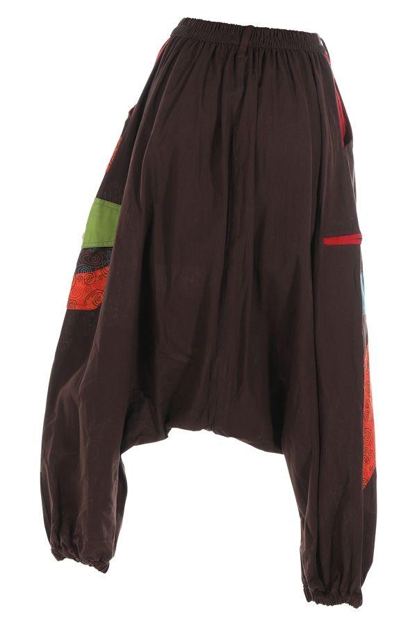 Sarouel pour femme en coton aux couleurs gaies Fayoum marron 314811