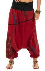 Sarouel pour femme en coton original et coloré Louxor rouge 314067
