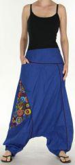 Sarouel pour Femme Ethnique et Coloré Jébril Bleu 275424