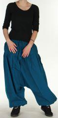 Sarouel pour Femme Ethnique et Confortable Kasaya Bleu Pétrole 275533
