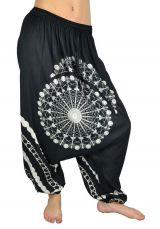Sarouel pour femme Ethnique et pas cher noir et blanc Inka 304155