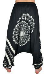 Sarouel pour femme Ethnique et pas cher noir et blanc Inka 304156