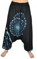 Sarouel pour femme Ethnique et tendance noir et bleu Inka 304151