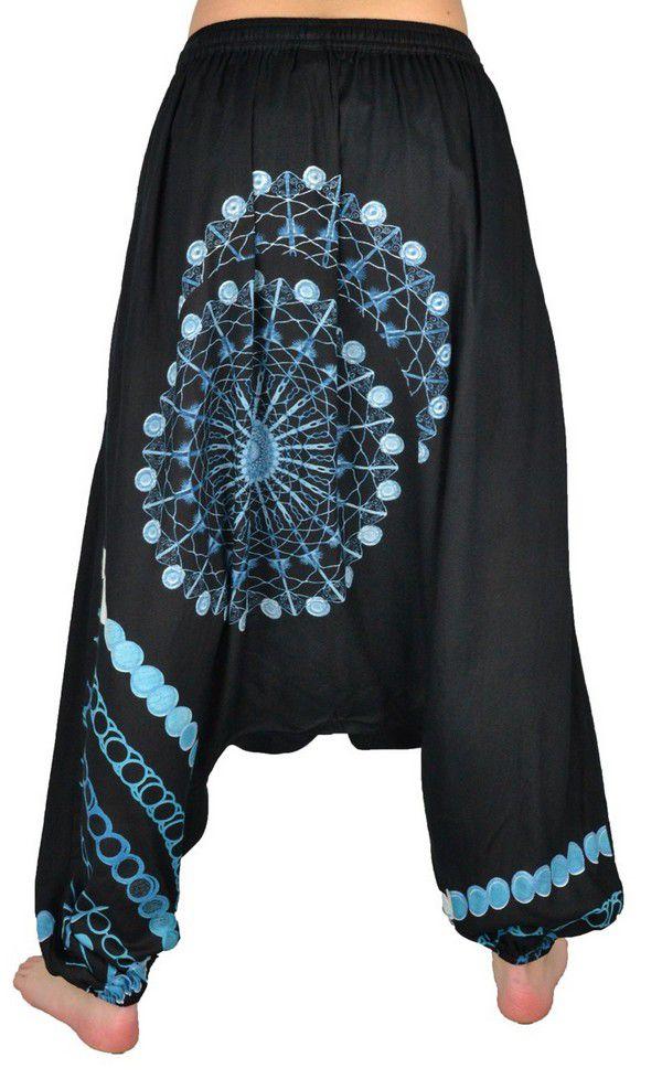 Sarouel pour femme Ethnique et tendance noir et bleu Inka 304152
