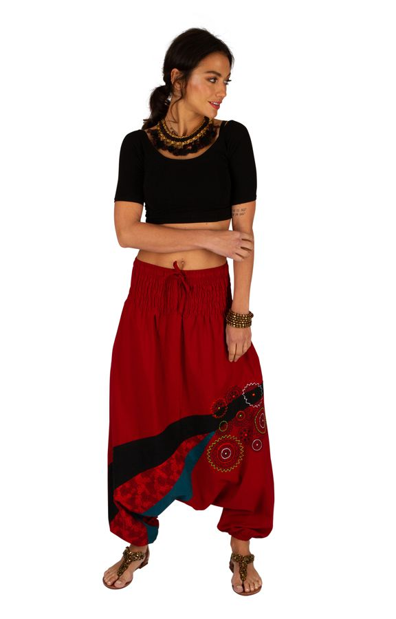 Sarouel pour femme pas cher et imprimé Allada rouge 313594