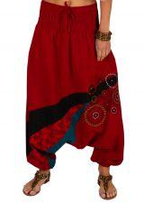 Sarouel pour femme pas cher et imprimé Allada rouge 313596