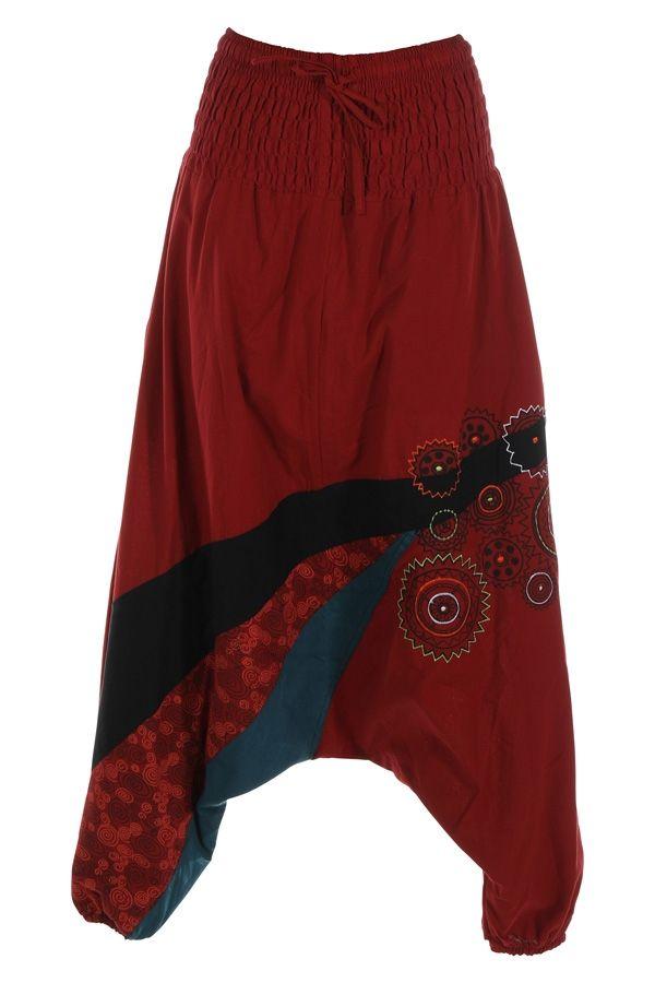Sarouel pour femme pas cher et imprimé Allada rouge 315015
