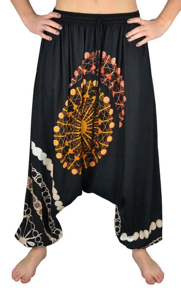 Sarouel pour femme pas cher et tendance noir et orange Inka 304262