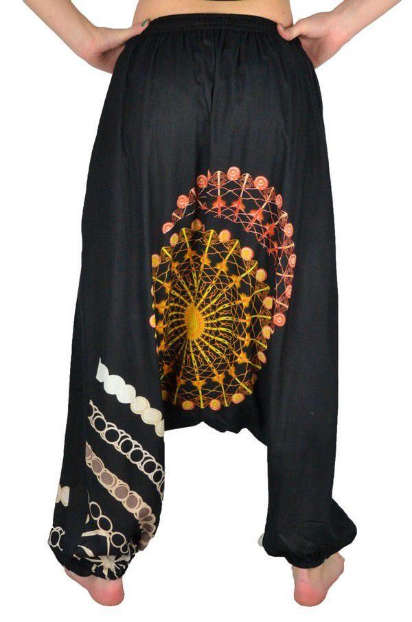 Sarouel pour femme pas cher et tendance noir et orange Inka 304263