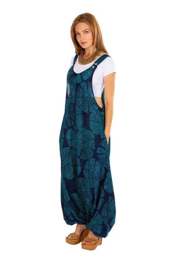 Sarouel salopette pour femme en voile de coton look ethnique Naomi 306557