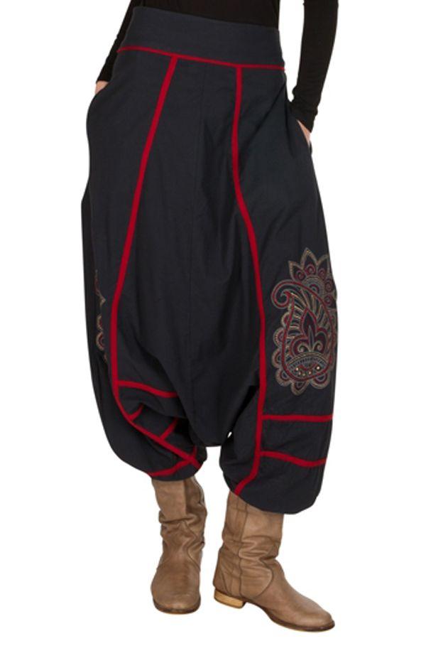 Sarouel tendance Gris avec broderies et poches original Mailen 301323