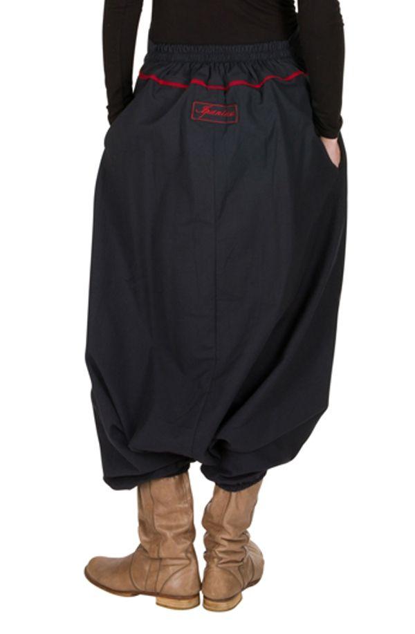 Sarouel tendance Gris avec broderies et poches original Mailen 301327