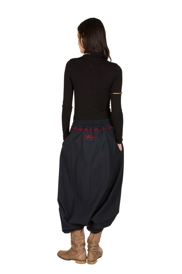 Sarouel tendance Gris avec broderies et poches original Mailen 301328