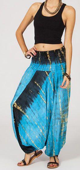 Sarouel tie-dye 3en1 fluide et léger en rayonne bleu 270405