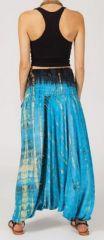 Sarouel tie-dye 3en1 fluide et léger en rayonne bleu 270408