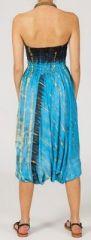 Sarouel tie-dye 3en1 fluide et léger en rayonne bleu