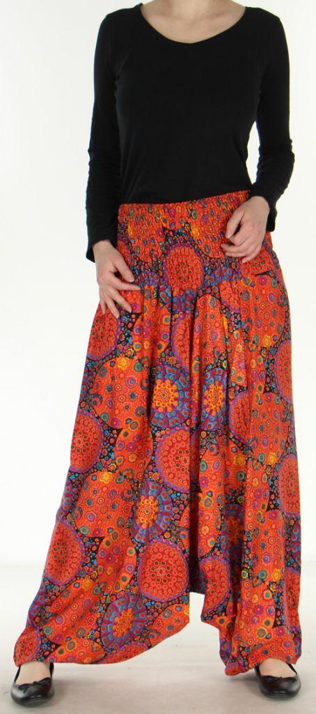 Sarouel transformable 3en1 coloré et pas cher Orange Fluid 272642