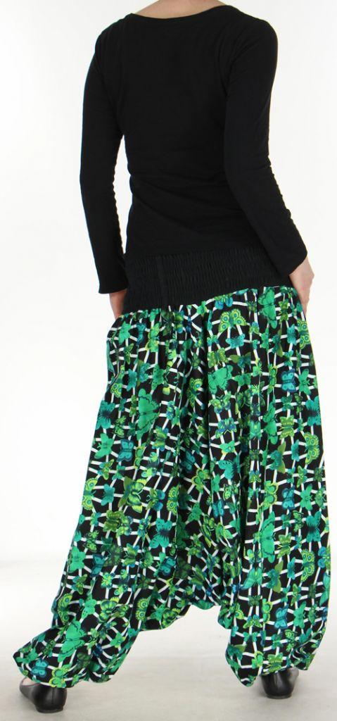 Sarouel transformable original coloré 3en1 noir et vert Green 272525