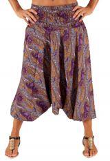 Sarouel transformable pour femme Ethnique et Coloré Aruloli Violet 283516