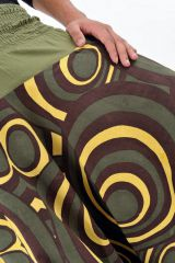 Sarouel très original mixte à imprimé cercle kaki Groomy 304110