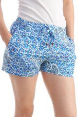 Short Bleu pour femme Fluide et Agréable Imprimés Fleurs Kathly 297978