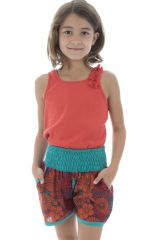Short court été enfant à la taille smockée original Bleu Lolita 294034