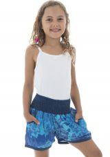 Short d'été enfant taille smockée original et imprimé bleu Payla 294016