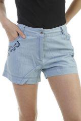 Short en jean avec imprimé floral et 2 poches Nanou 296667
