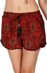 Short femme imprimé tons de rouge avec des poches Petra 311567
