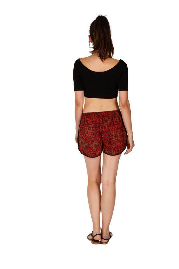 Short femme imprimé tons de rouge avec des poches Petra 311569