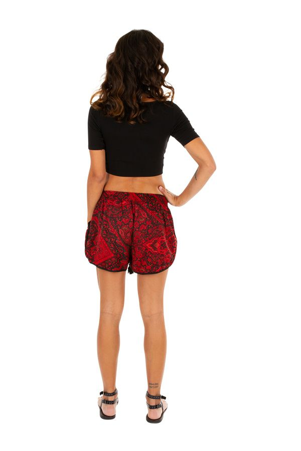 Short original femme imprimé rouge à poches Malorie