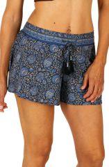 Short pour femme couleur bleu motifs petites fleurs Denise 311609
