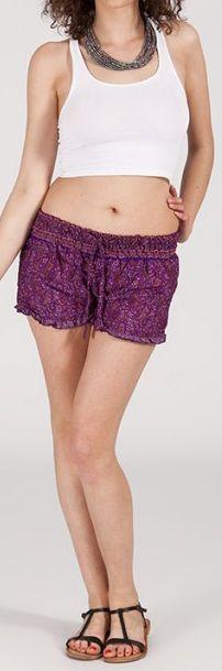 Short style ethnique aux motifs effet batik - Violet - Baccio 272125