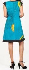 Superbe courte d'été manches courtes ethnique et colorée Bleue Rosalia 272200