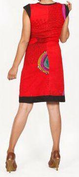 Superbe courte d'été manches courtes ethnique et colorée Rouge Rosalia 272196