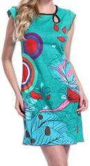 Superbe robe courte colorée et originale turquoise Corra 273423